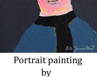 Acrylic Portrait Painting. Boy Portrait. 4x4 Miniature Art. Winter Coat & Scarf. Home Office Decor. Artsy Stocking Stuffer
