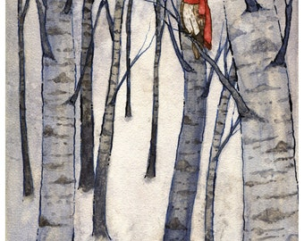 Winter Woods Original Painting/Barn Owl Watercolor/Birch Forest/Original Art