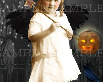 Halloween Vintage Photo Download, No.P46, Altered Photo, Halloween Witch, Instant Download. Witch with wand