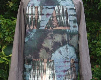 SALE! 50% OFF Three Quarter Length Coat in Stretch Tencel and Shibori Dyed Cotton with Silk Lining