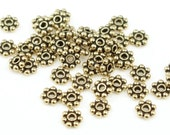 4mm Daisy Spacers 50 Antique Gold Bali Spacers Heishi Bali Style Gold Beads (PS20)