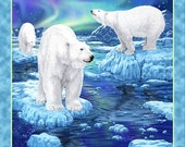 Polar Bear Northern Lights Blue Violet Quilting Treasures Fabric Panel 36""