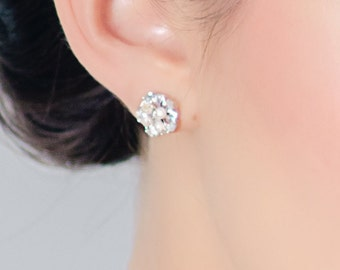 Tiny Rhinestone and Freshwater pearl Stud Earrings
