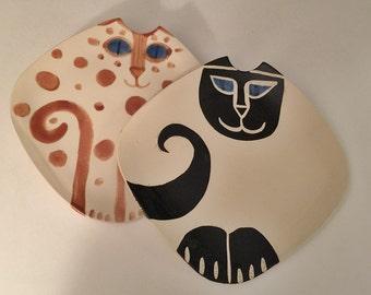 Siamese Square Ceramic Cat Plate hand made fine feline collectors gift