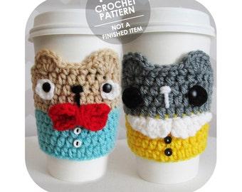 crochet pattern - bear coffee cup sleeve - coffee sleeve cozy - crochet coffee cozy - kawaii bear coffee cup sleeve - amigurumi bear pattern