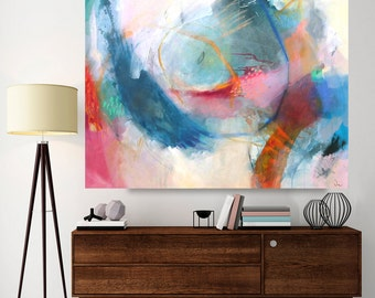 Abstract painting, large mixed media painting, canvas art 40 x 31 inches