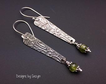 Silver long dangle earrings, Long Oxidized Silver and Peridot Earrings, green stones