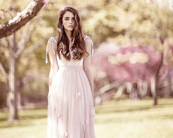 The Juliette Blush Wedding Dress, Spring Wedding, Pink Wedding Dress, Wedding Dress with Flowers