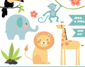 Cute Jungle Digital Clipart - Lion, Toucan, Monkey, Giraffe, Elephant, Vine - great for card making and invitations - 300 dpi