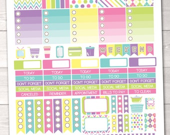 Springtime Printable Planner Stickers Weekly Kit Icons Weekend Banner Checklist Flags Washi Borders
