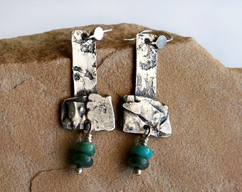 Primitive Hammers . Rustic Recycled Sterling Silver & Green Turquoise Earrings . Rustic Style Jewley