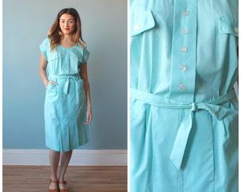 polka dot dress / light blue white polka dot day dress / 1950s / small