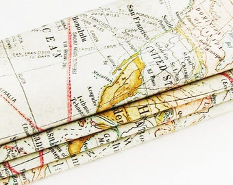 Global Travel Map Cotton Napkins / Set of 4 / Nostalgic Old Nautical World Maps Eco-Friendly Table Decor / Unique Gift Under 50