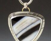 Brazilian Agate Necklace, black white brown silver, boho necklace, bohemian style, boho, large stone necklace, striped stone