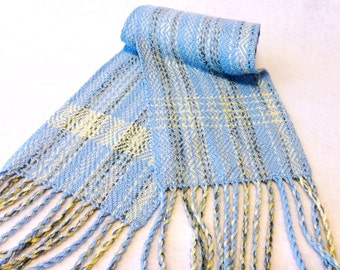 Handwoven Bamboo Scarf - Blue Tan - Sand and Sea Blue