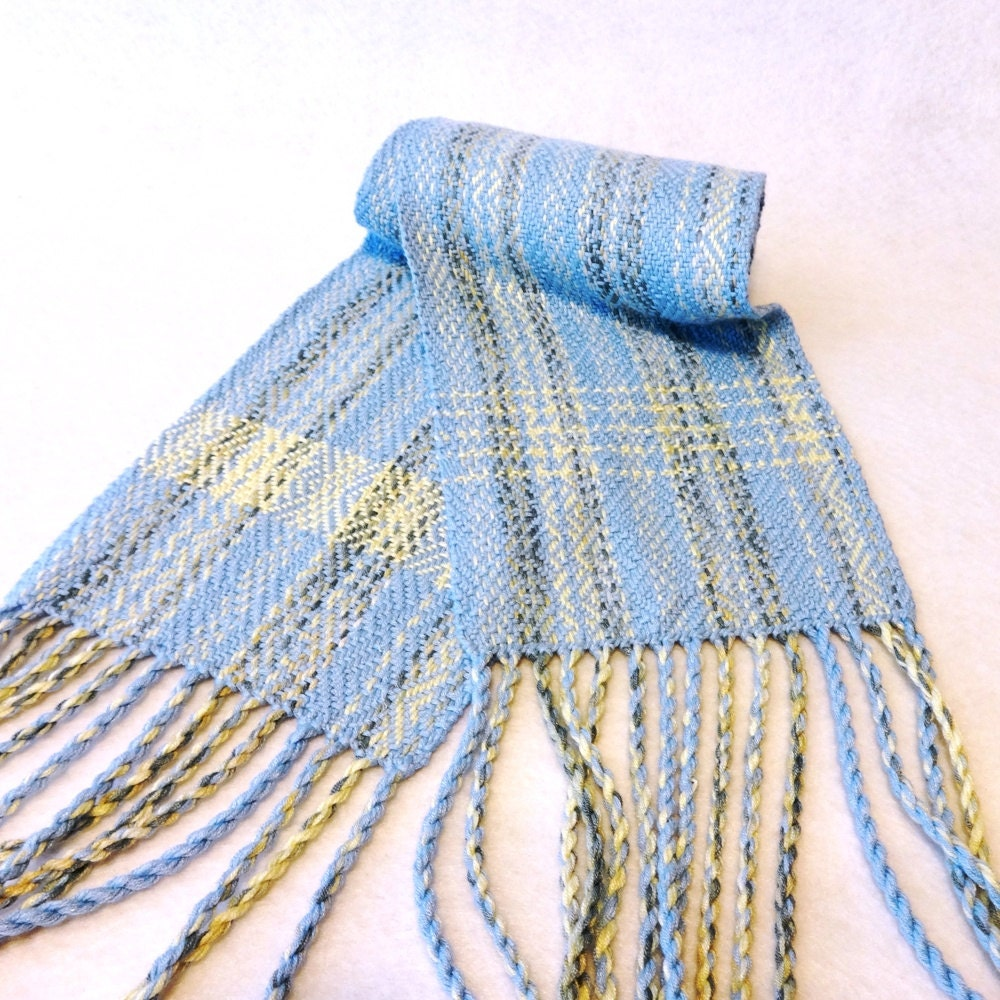handwoven bamboo scarf blue scarf woven scarf blue bamboo