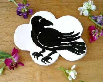 Raven in a Cloud Ring Dish - HandMade Hand Painted Crow Small Black Bird Corvid Drawing - Pottery Ring, Jewelry, Trinket Holder or Soap Dish