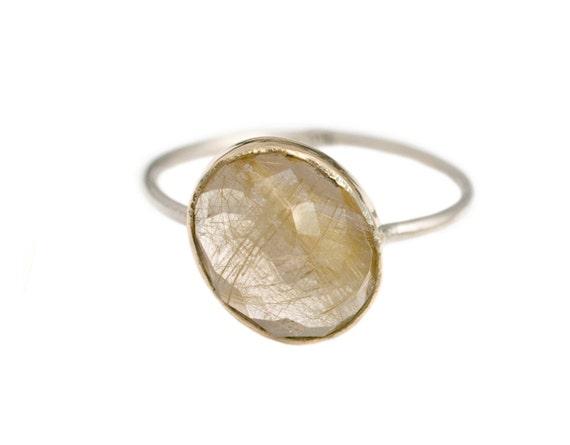 Custom Stacker Oval Ring, Custom oval, handmade with Gold & Sterling Silver, Your choice of gemstone, Quartz, Aquamarine, Prehnite