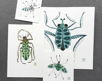 Cerulean Insect Collection, miniature small watercolor paintings, set of four