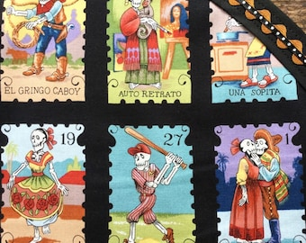 Day of the Dead Tablecloth Mexican Skeletons Loteria Cards Black Brown Colorful