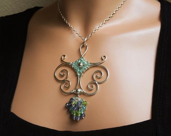 Spiraling Sterling & Gemstones Pendant 'Arabesque' Statement Necklace