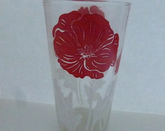 Vintage Mid Century Tumbler with Red Poppy with White Leaves