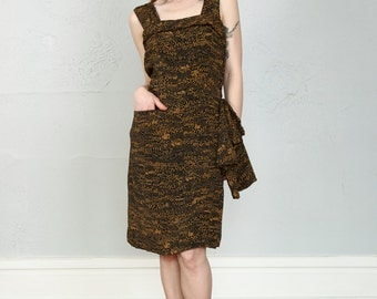 SALE- 1950s SAKS Dress . Black Print Saks 5th Ave