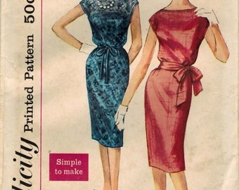 1960s Simplicity 3504 Vintage Sewing Pattern Misses Cocktail Dress, Sheath, After 5 Dress, Party Dress Size 14 Bust 34