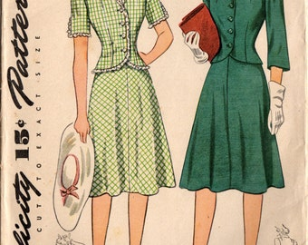 1940s Simplicity 4331 Vintage Sewing Pattern Junior Miss Two Piece Dress Size 15 Bust 33