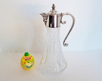 Vintage Silver Plated Bacchus Glass Claret Wine Jug Pitcher Decanter pressed pattern cut glass Bacchus Face Spout, Scrolling Handle