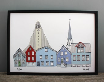 Reykjavik Print - A3 Scandinavian Wall Art - Reykjavik Cityscape - Icelandic Wedding Gift