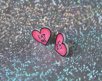 Eat Me Pink Heart Earrings, Stud Earrings, Nickel Free Posts
