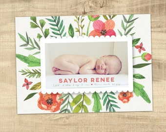 vintage floral baby birth announcement / photo birth announcement / birth announcement / girl birth announcement /  PRINTABLE announcement