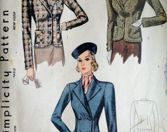 Vintage 30's Simplicity 3038 Sewing Pattern, Women's Jacket, Single & Double Breasted, 40 Bust, Plus Size