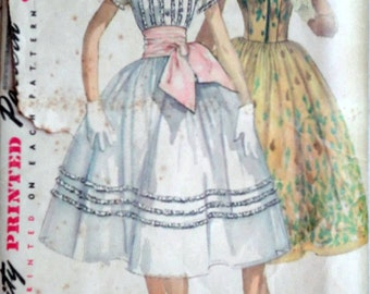 Vintage 50's Simplicity 1517 Sewing Pattern, Junior One-Piece Dress, Simple to Make, Party Dress, Size 13, 31 Bust