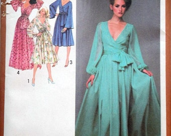 Vintage 70's Simplicity 9287 Sewing Pattern, Misses' Lined Dress in Two Lengths & Sash, Retro Disco Evening Dress, Size 16, 38 Bust , Uncut