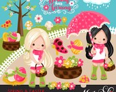 Spring & Easter Cliparts for Girls. Beautiful spring characters, birds, bugs, flowers, spring showers and easter eggs graphics