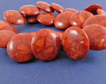 Red Sponge Coral Lentils - 22mm - 16-inch strand - 22 beads