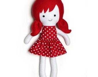 Rainbow rag doll / educatieve pop / wit met rode pop / polkadot jurk / tegen racisme / knuffelpop