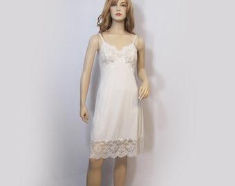 Vintage Van Raalte Full Slip White Nylon Silky Sheer Bust Deep Lace Hem 34