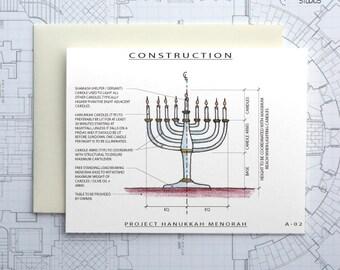 Project Menorah - Hanukkah Architecture Construction Card