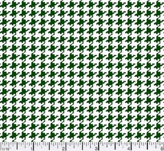 Hunter Green Houndstooth Mini Print Fabric By The Yard