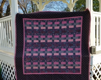 Lap Quilt--pink and gray handquilted throw