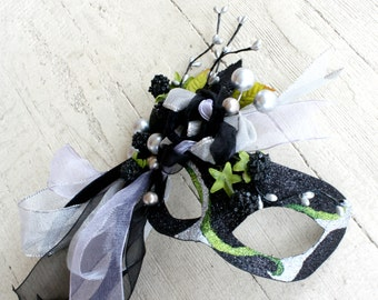 The Witch - Black Masquerade Ball Mask with Silver and Green Accents - Inspired by Into the Woods