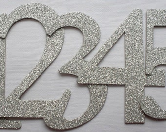 "4"" Wedding Table Numbers - GLiTTER Top Coat CHiPBOARD - Elegant Font - Color Choice: SILVER Shown"