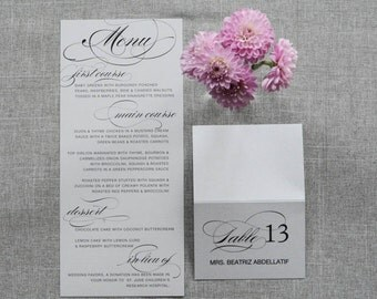 Vintage Silver Glam Wedding Menu - Traditional, Formal Wedding - Custom - Elnaz and Andrew
