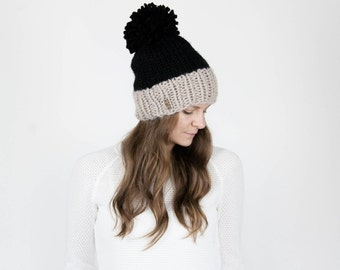 Chunky Knit Hat, Slouchy Hat, Two-Tone With Pom Pom / THE SYLVAN / Black and Linen