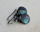 Labradorite Earrings, Drop Earrings, Wire Wrapped, Sterling Silver, Thunder, Storm, Blue, Dangle Earrings, PoleStar, Antiqued
