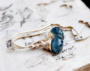 Drop Earrings, Gemstone Earrings, Aquamarine Earrings, March Birthstone, Birthstone Earrings, Moss Aquamarine, Gold Earrings