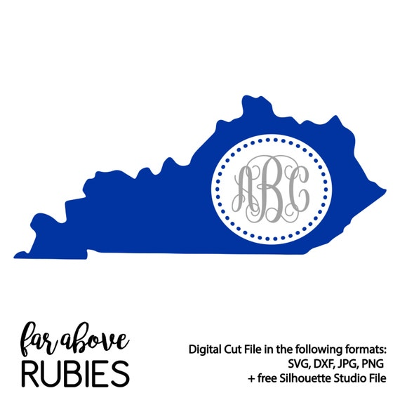 Kentucky State Shape For Monogram Monogram Not Included Svg